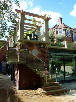 New Cantilevered Stone Stair & Pergola