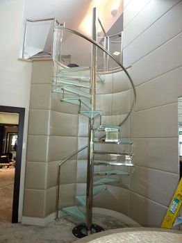 Glass Spiral Staircase to Gym