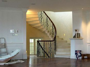 New Cantilevered Stone Staircase from Living Room